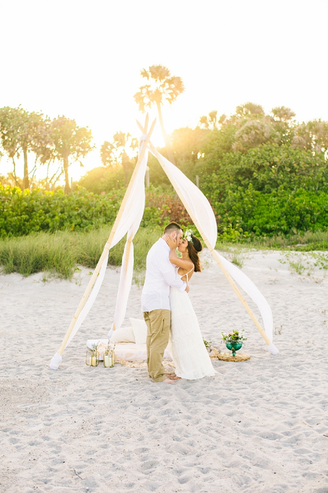 We're loving this gorgeous boho teepee at this anniversary shoot! SUCH a great idea!