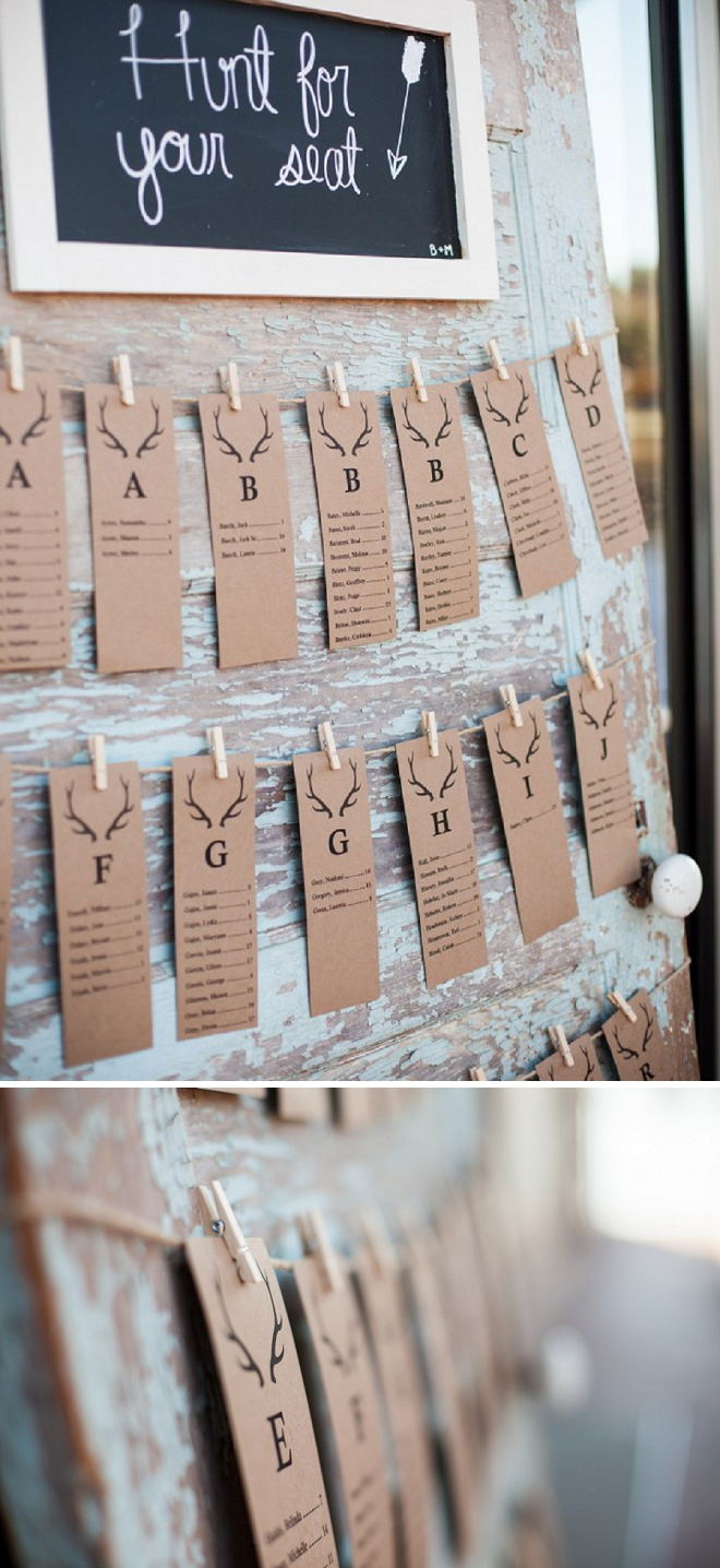How fun are these hunt themed escort cards at this crafty country wedding?! Love!