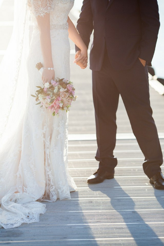 Dreamy photo of the new Mr. and Mrs. after their ceremony!