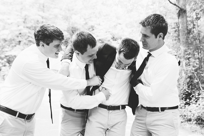 Such a great shot of the Groom and his Groomsmen before the ceremony!