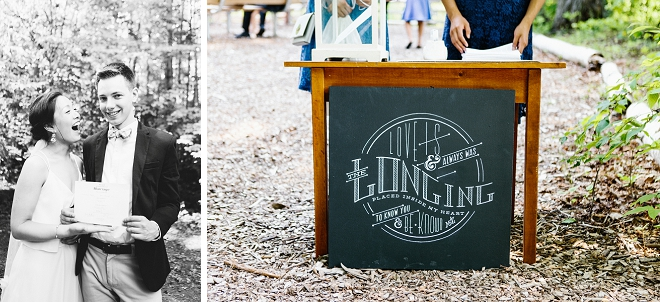 We are crushing on these hand lettered signs at this gorgeous outdoor DIY wedding!