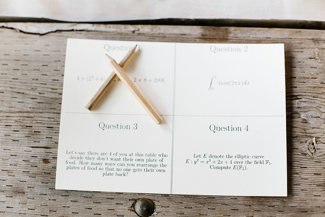 What a fun idea! Two math majors get married and use math equations at their reception for fun!