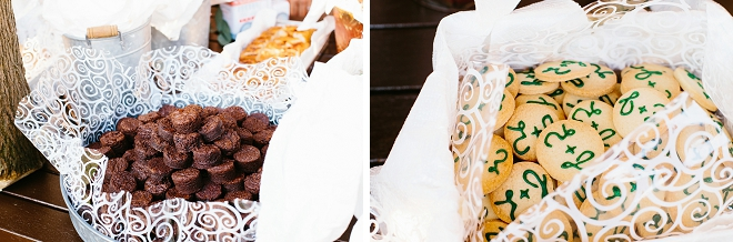 We're swooning over this fun couples rustic wedding cake and dessert bar!
