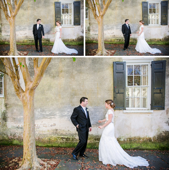 We love this darling first look of the Mr. and Mrs. before their charming ceremony!