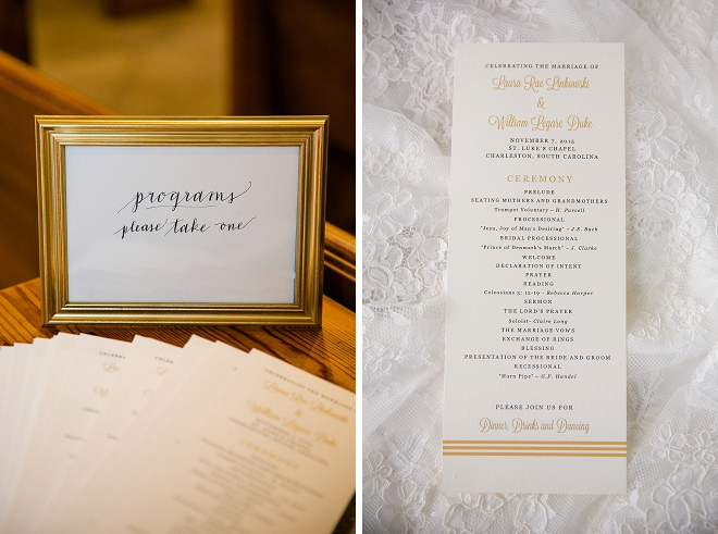 We're swooning over this couple's super cute ceremony programs!