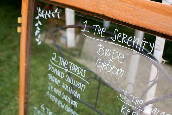Crushing on this gorgeous gold table number display at this backyard reception!
