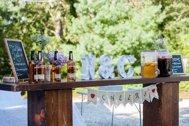 We love this fun couple's DIY bar and handmade drink stirs!