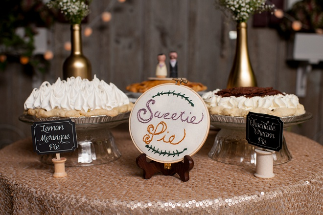 We're in LOVE with the dessert and pie table at this fun DIY wedding!