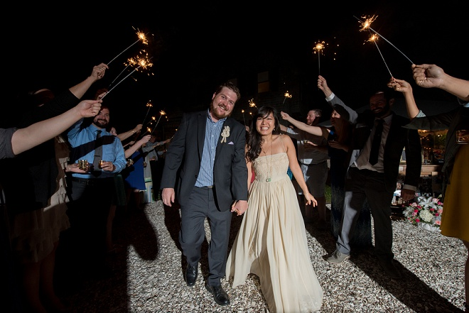 Loving this happy couple and their fun sparkler exit!