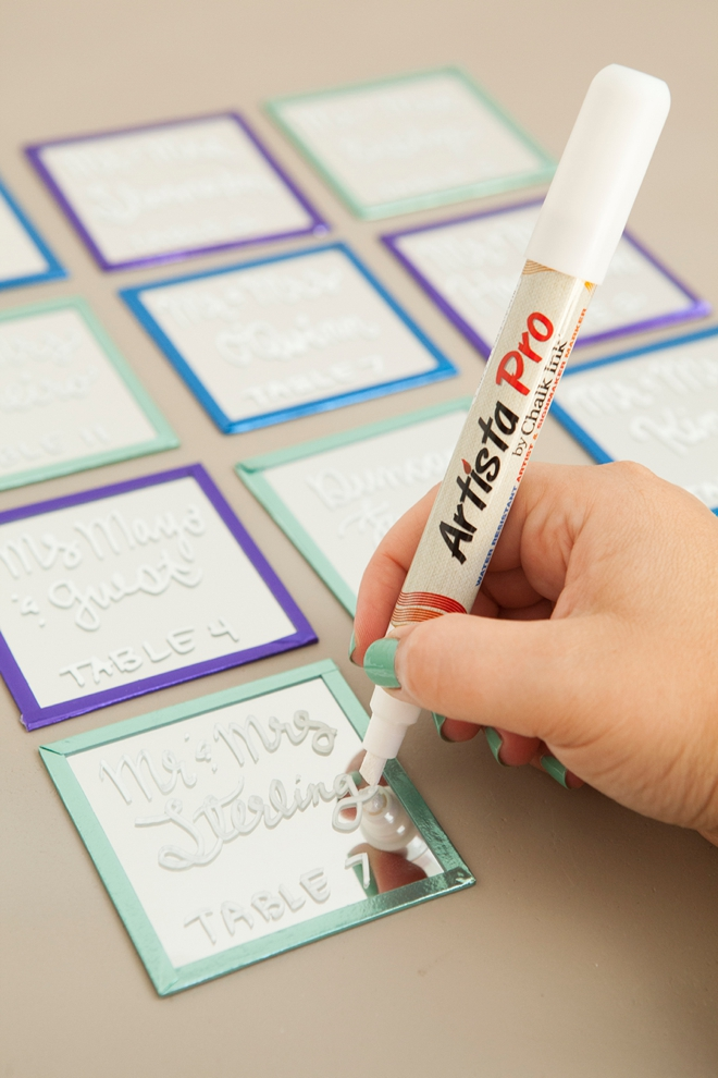How to make the most darling mini-mirror and easel escort card display using Chalk Ink markers!