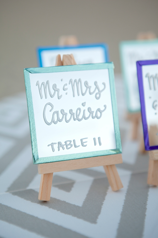 How to make the most darling mini-mirror and easel escort card display!