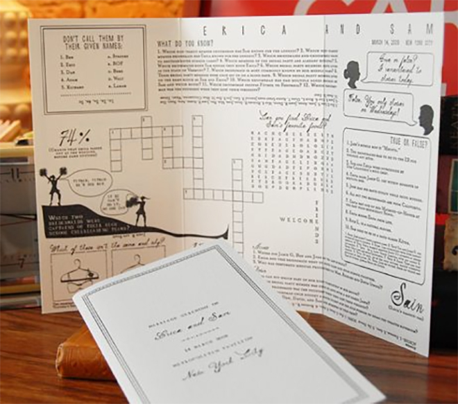 wouldn't you love a wedding program filled with personal puzzles?