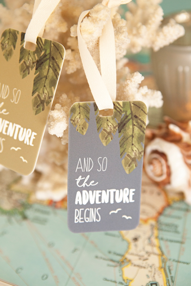 Adorable free printable And So The Adventure Begins, shrinky dink luggage tags!