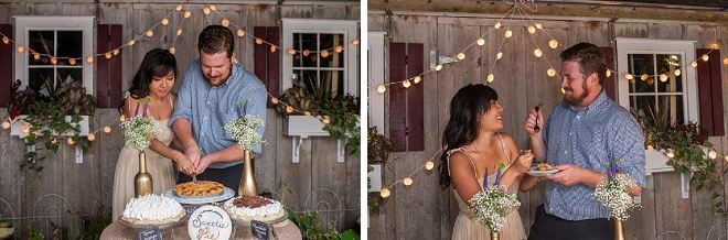 Loving the sweet snaps of this couple's cake cutting!