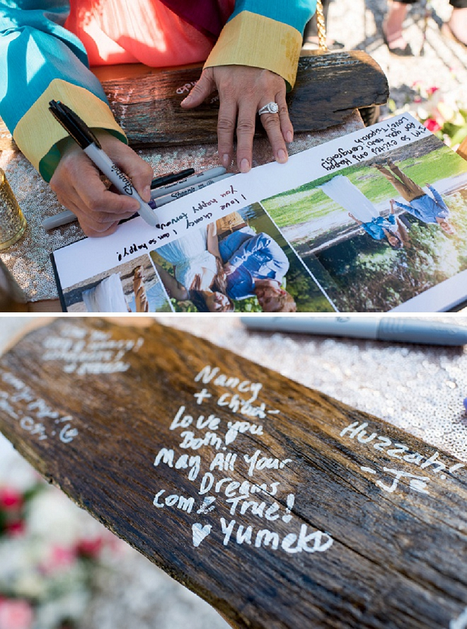 We're in LOVE with this fun wooden guest book idea!