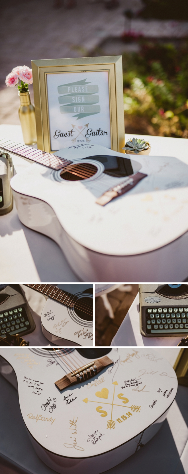 We love this fun couple's guitar guest book! Such a fun guest book idea!