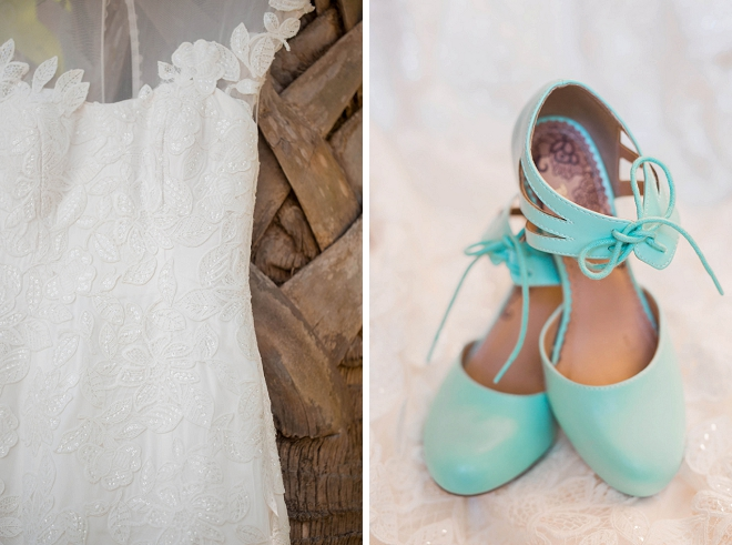We couldn't love these turquoise wedding shoes any more!