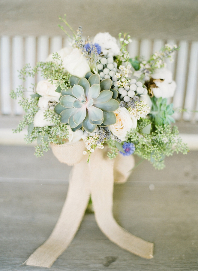 We are swooning over this Bride's gorgeous boho wedding bouquet!