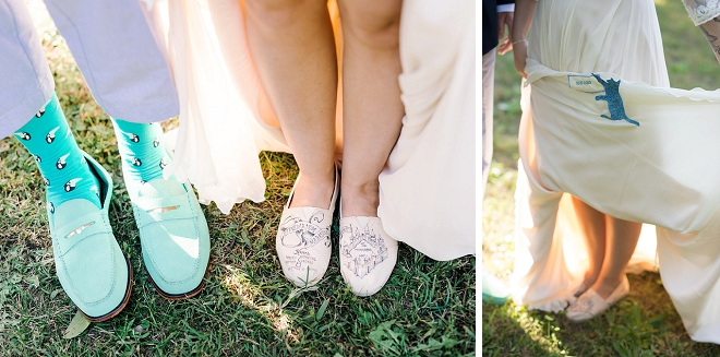 We love this Bride's gorgeous turquoise sash and tom wedding shoes!
