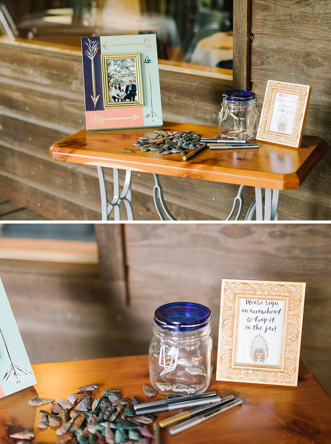 How fun is this guestbook idea? We love that guests signed an arrowhead!