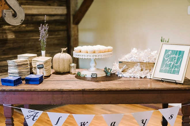 Loving this darling dessert table at this boho chic wedding!