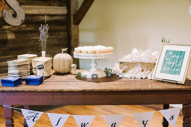 Loving this darling dessert table at this boho chic wedding!