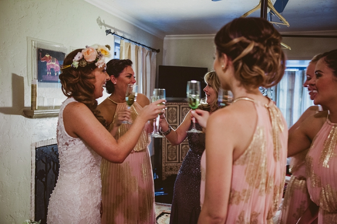 The beautiful Bride getting ready for the big day with her Bridesmaids!