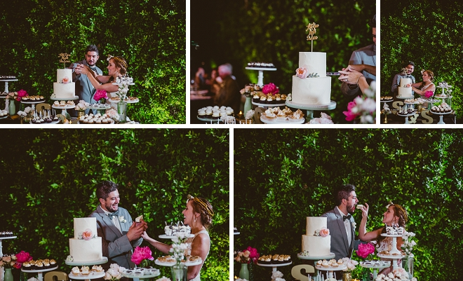 We're loving these cake cutting shots at their gorgeous outdoor reception!