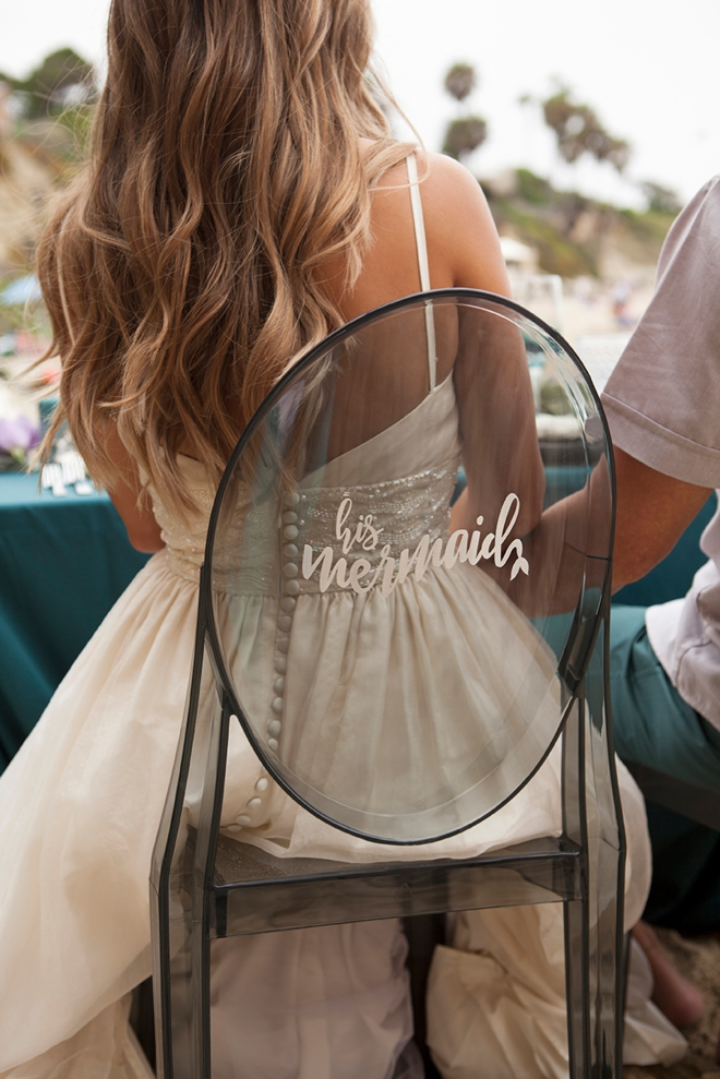 DIY His Mermaid.... wedding reception chair sign!