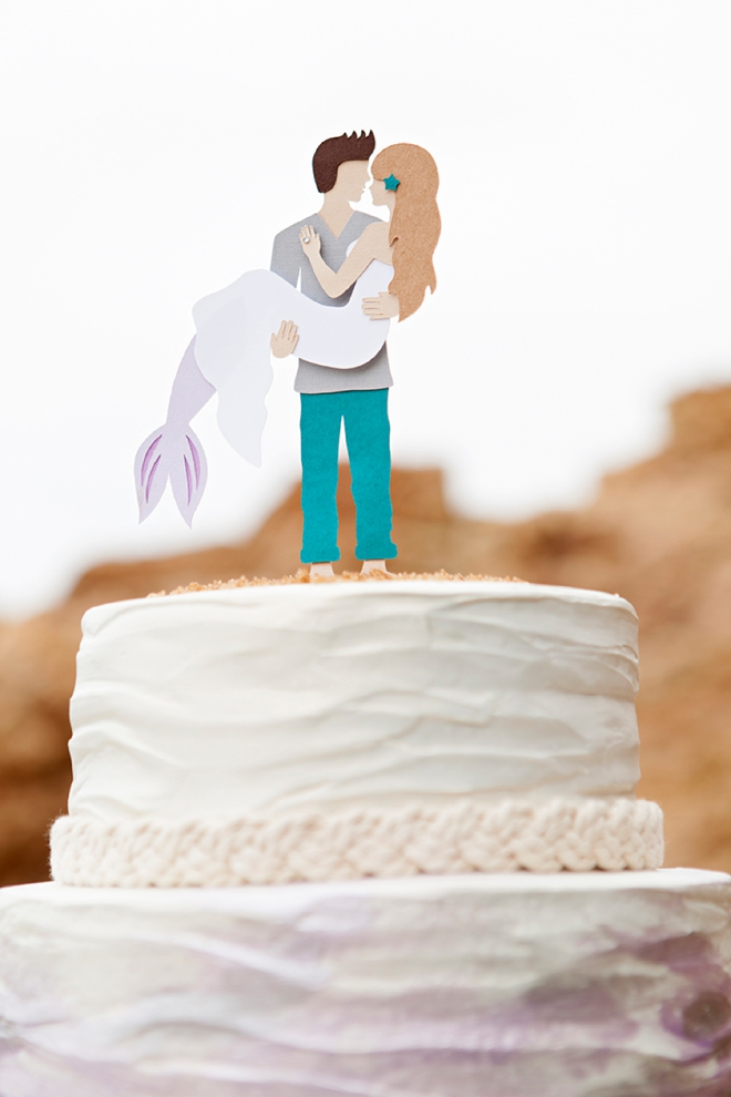 DIY, custom mermaid and man wedding cake topper!