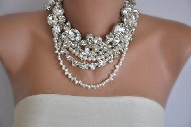 We're swooning over this statement necklace for your big day!