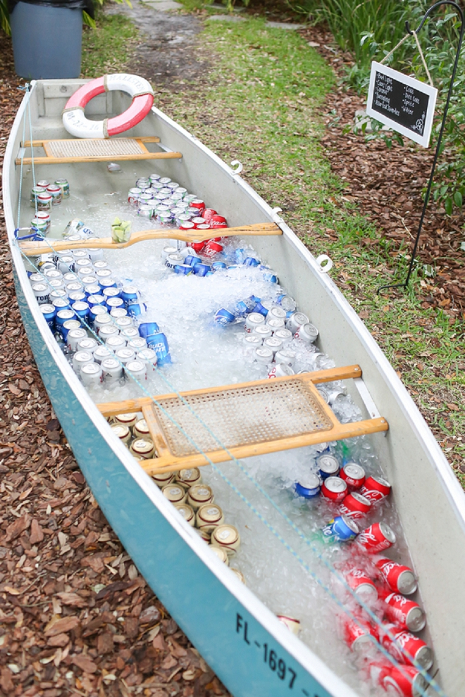 What a fun idea! This couple used their canoe to hold can drinks at their reception!