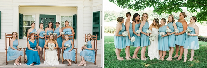 We love this darling first look of the Bride and her Bridesmaids!