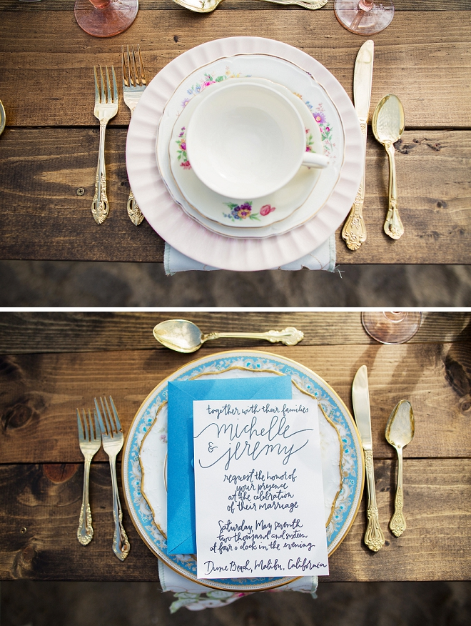 We can't get over the vintage china at this styled shoot! So gorgeous!