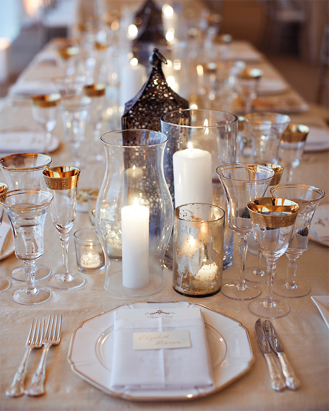 Candle centerpieces add ambiance and are visually clean.