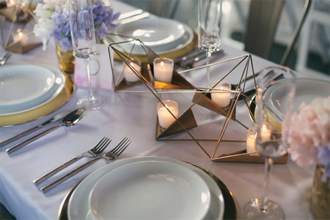 Geo candle holder can replace a floral arrangement.