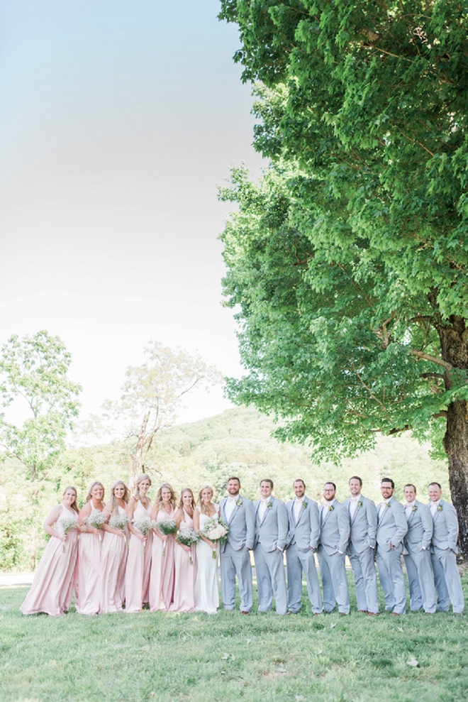 We love this gorgeous and fun blush and grey wedding party!