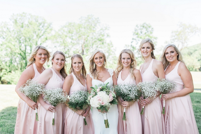 Great shot of the Bride and her blush Bridesmaids before the ceremony!