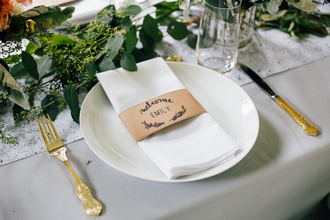 Loving the darling place settings at this stunning DIY wedding!