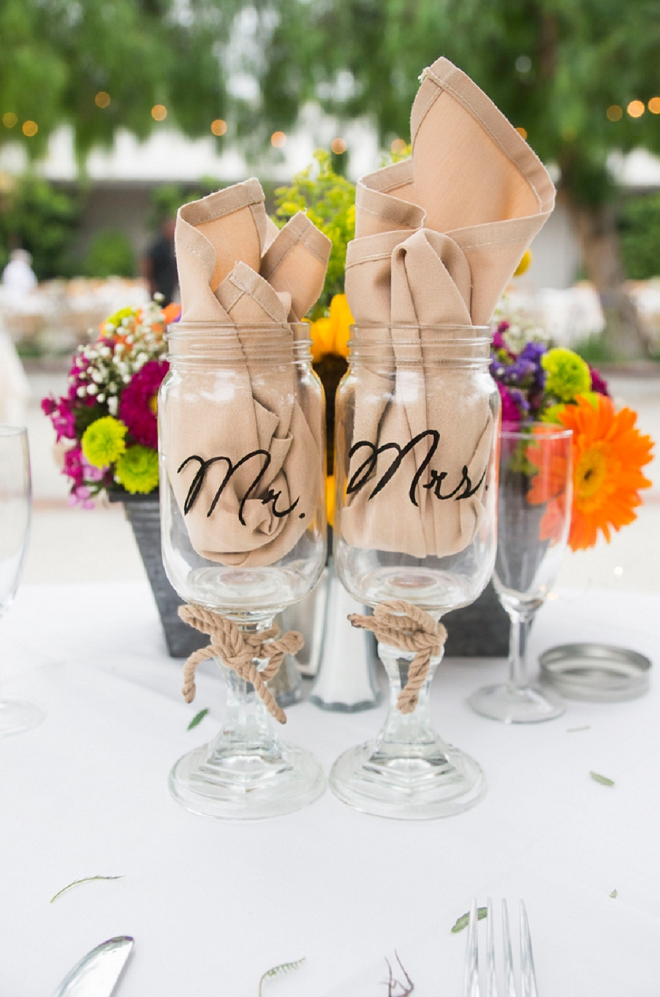 How cute are these Mr and Mrs mason jar wineglasses?! So cute!