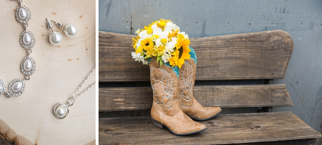 We love this bride's darling sunflower wedding bouquet and cowboy boots!