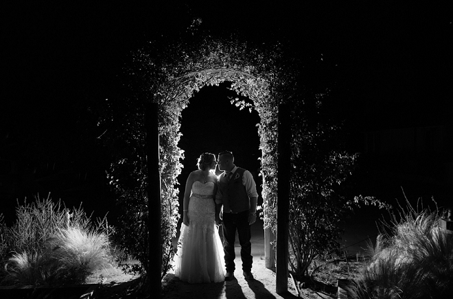 We're swooning over this stunning photo of the new Mr. and Mrs. after the reception!