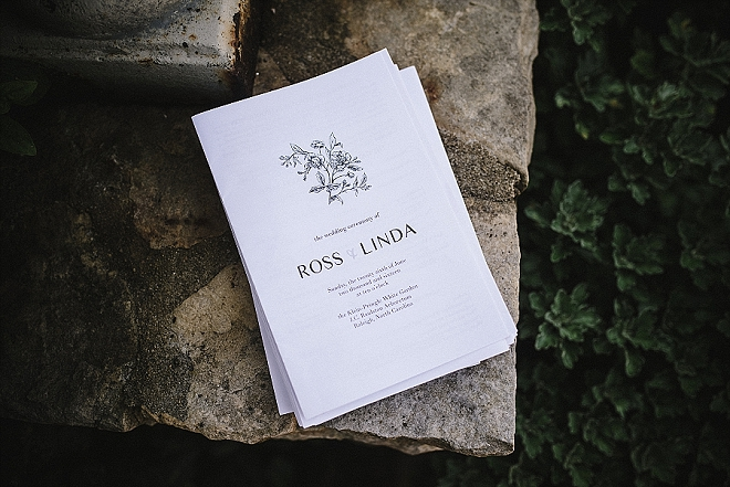How cute are these ceremony programs at this secret garden wedding?! LOVE!