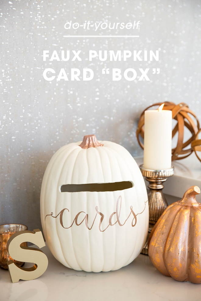 This wedding card box is a must for your fall wedding learn how to turn a foam pumpkin into the most perfect fall wedding card box solutioingenieria Image collections