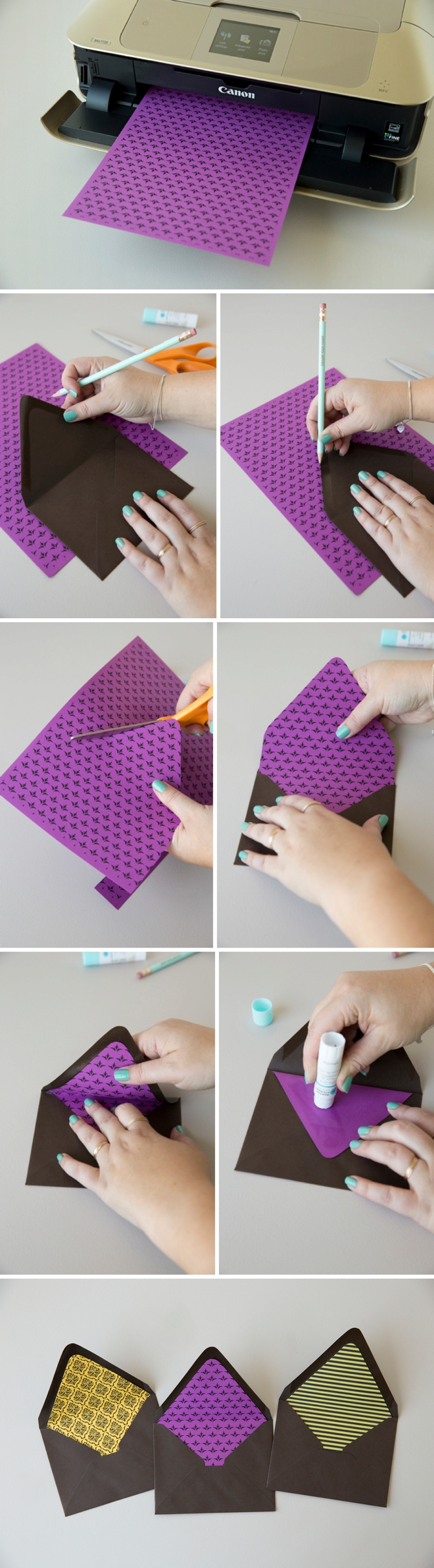 How to make your own envelope liner with free printable designs!