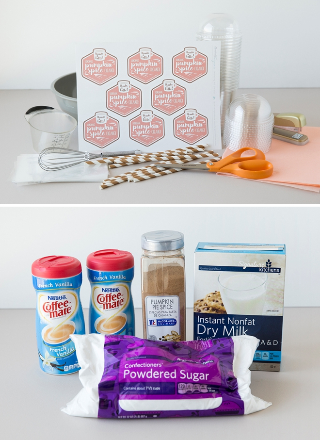 How to make the most adorable, dry pumpkin spice creamer mix as favors or gifts!