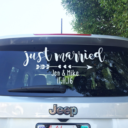 Make Your Own Quot Just Married Quot Car Window Cling Sign