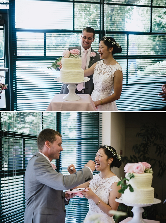 We love this sweet Mr. and Mrs. cutting the cake!