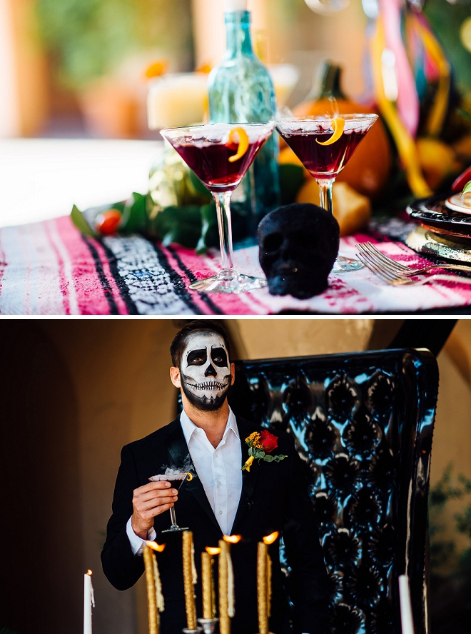 How fun are these smokey cocktails for the stunning Day of the Dead styled shoot?!