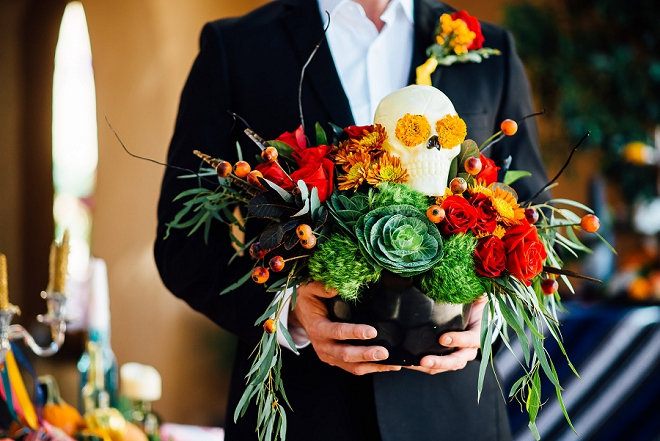 Amazing skull and flowers at this stunning styled shoot!